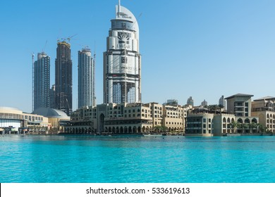 DUBAI, UAE - November 27, 2016: Downtown Dubai skyline and fountain.