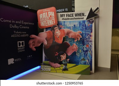 Dubai, UAE – November 27, 2018: A Standee of A Disney 3D computer-animated comedy film Ralph Breaks the Internet or Wreck-It Ralph 2 at the theater.