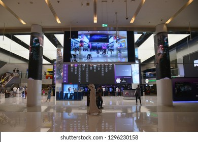 Dubai, UAE – November 27, 2018: Reel Cinemas a Mega Cineplex inside Dubai Mall Shopping Center