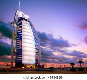 DUBAI, UAE - NOVEMBER 27: Burj Al Arab hotel on Nov 27, 2011 in Dubai. Burj Al Arab is a luxury 5 stars hotel built on an artificial island in front of Jumeirah beach. Sunset View