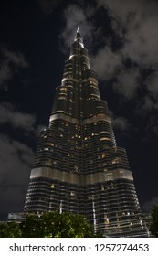 Dubai, UAE – November 28, 2018: Beautiful Landmark The Burj Khalifa Tower (The Tallest Skyscraper In United Arab Emirates) in the night with clear sky.