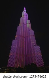 Dubai, UAE – November 28, 2018: Beautiful LED Light Performance Show Projection at The Burj Khalifa Tower (The Tallest Skyscraper In United Arab Emirates).