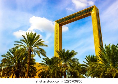 Dubai, UAE - November 28, 2018: The famous Dubai Frame is located in Zabeel Park. It is a museum of history and architectural landmark.