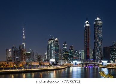 DUBAI, UAE - NOVEMBER 29, 2017: Dubai water channel at night in district area Business Bay