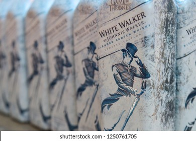 Dubai, UAE – November 29, 2018: Game of Thrones Johnnie Walker White Walker Limited Edition Single Malt Scotch Whisky is a special collection inspiring from the monster from HBO Series.