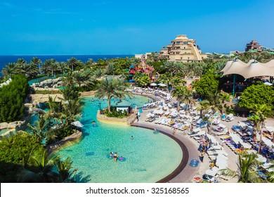 DUBAI, UAE - NOVEMBER 3: The Aquaventure waterpark of Atlantis the Palm hotel, located on man-made island Palm Jumeirah on November 3, 2013 in Dubai, UAE