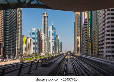 DUBAI, UAE - NOVEMBER 3: Dubai Metro as world's longest fully automated metro network (75 km) on November 3, 2013, Dubai, UAE.