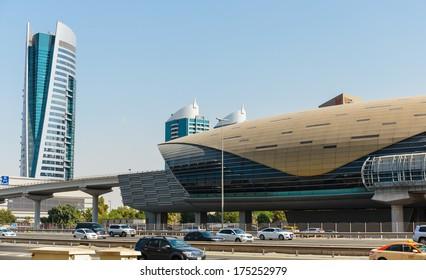 DUBAI, UAE - NOVEMBER 3: Metro subway station. Dubai Metro as world's longest fully automated metro network (75 km) on November 3, 2013, Dubai, UAE.