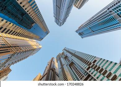 DUBAI, UAE - NOVEMBER 3: Modern buildings in Dubai, on November 3, 2013, Dubai, UAE. Dubai was the fastest developing city in the world between 2002 and 2008.