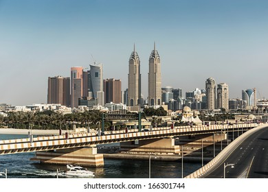DUBAI, UAE - NOVEMBER 3: Views of the Dubai from the island of Palm Jumeirah, on November 3, 2013, Dubai, UAE. In the city of artificial channel length of 3 kilometers along the Persian Gulf.