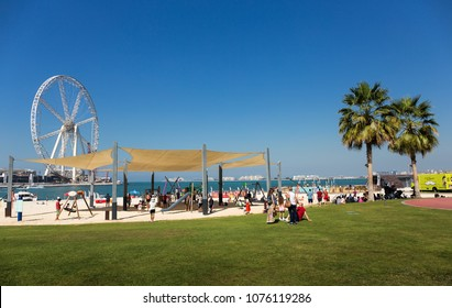 DUBAI, UAE - NOVEMBER 30, 2017:  New public beach - Jumeirah Beach Residence JBR  with a 2 km promenade