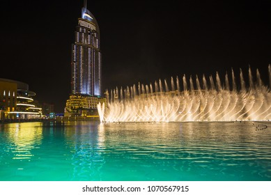 DUBAI, UAE - November 31: A record-setting fountain system set on Burj Khalifa Lake, it shoots water 150 m into the air, at November 31, 2013 in Dubai, United Arab Emirate