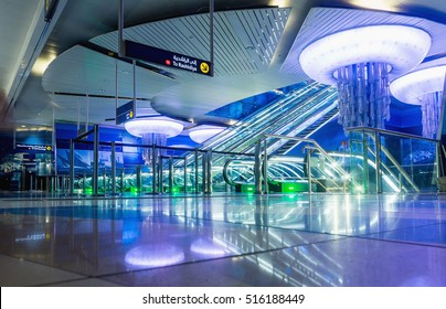 DUBAI, UAE - NOVEMBER 7, 2016: Interior of metro station in Dubai. Metro as world's longest fully automated metro network.The Metro is one of most effective way to explore and discover Dubai City.