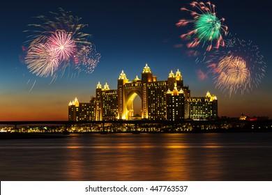DUBAI, UAE - NOVEMBER 7: Atlantis Hotel in Dubai. UAE. November 7, 2013. The newly opened multi-million dollar Atlantis Resort, Hotel & Theme Park at the Palm Jumeirah Island in Dubai.