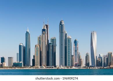 DUBAI, UAE - NOVEMBER 7: General view of the Dubai Marina, on November 7, 2013, Dubai, UAE. In the city of artificial channel length of 3 kilometers along the Persian Gulf.