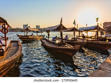 DUBAI, UAE - NOVEMBER 8: Boats on the Bay Creek in Dubai, UAE nov 8 2013