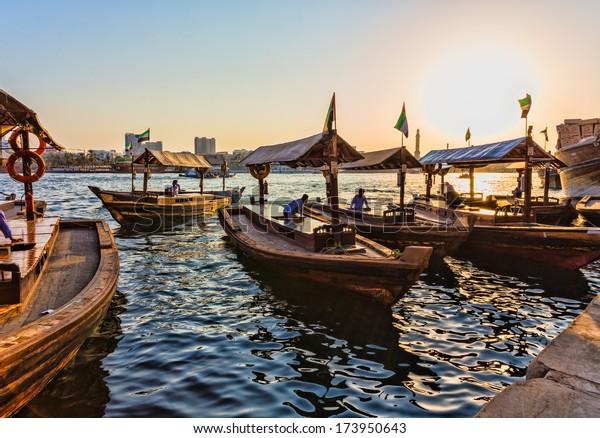DUBAI, UAE - NOVEMBER 8: Boats on the Bay Creek in Dubai, UAE nov 8 2013