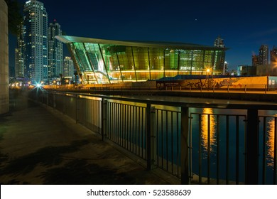 DUBAI, UAE - NOVEMBER 9, 2016: Night view on iconic dhow-shaped building of Dubai Opera is a masterpiece of contemporary design. Dubai, Opera.