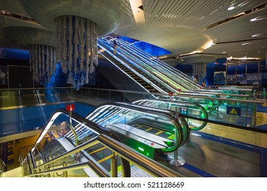 DUBAI, UAE - NOVEMBER 9: Dubai Metro as world's longest fully automated metro network (75 km) on November 9, 2013, Dubai, UAE.