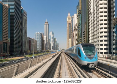 Dubai, UAE - Oct 13, 2018: View of Metro train in downtown Dubai