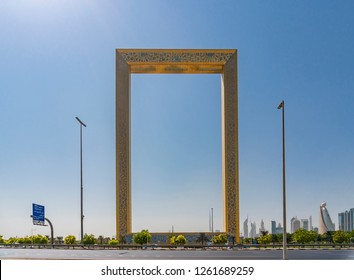 Dubai, UAE - Oct 13, 2018: View of The Dubai Frame in Dubai, UAE. It holds the record for the largest frame in the world.