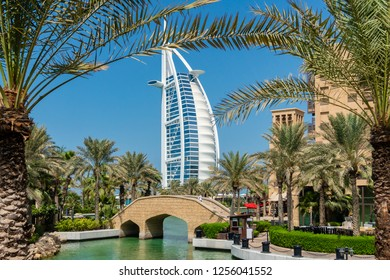 Dubai, UAE - Oct 15, 2018: View of the waterway in Jumerirah with Burj Al Arab in the background