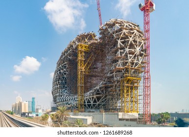 Dubai, UAE - Oct 16, 2018: View of the Museum of the Future under construction in Dubai. It is a groundbreaking design in architecture. It has an oval torus shape with an open center.