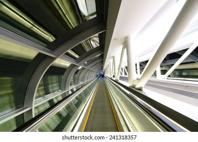 DUBAI, UAE - OCT 16: way between metro and airport on October 16, 2014 in Dubai. Dubai International Airport is an international airport serving Dubai. It is a major airline hub in the Middle East