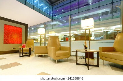 DUBAI, UAE - OCT 17: airport interior on October 17, 2014 in Dubai. Dubai International Airport is an international airport serving Dubai. It is a major airline hub in the Middle East