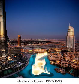 DUBAI, UAE - OCT 17: The Dancing Fountain of Dubai on Oct 17, 2010 in Dubai, UAE. The fountain is overlooked by the Burj Khalifa - the tallest building in the world and the Address Hotels