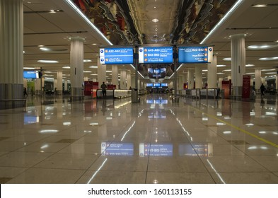DUBAI, UAE - OCT 19: Dubai International Airport,where the photo was taken on 19 Oct 2013,  is a major airline hub in the Middle East and a big contributor to the Dubai economy.