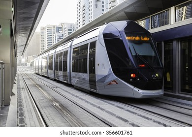 DUBAI, UAE - OCT 2: NEW TRAM SERVICE IN THE CITY OF DUBAI. OFFICIALLY OPEN FOR PUBLIC ON 12 NOVEMBER 2014.