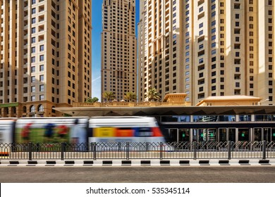 DUBAI, UAE - OCT 28: The Dubai Tram on Oct 28, 2015 in Dubai, UAE. This is a tramway located in Al Sufouh district. It is a primary rail link between Dubai Metro and Marina with JBR