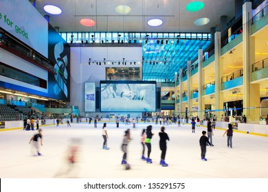 DUBAI, UAE - OCT 7: The ice rink of the Dubai Mall on Oct 7, 2010 in Dubai, UAE. Dubai Mall is the largest shopping mall in the world with some 1200 stores
