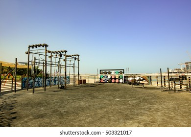 Dubai, UAE - OCTOBER 06, 2016: The Beach Development opposite Jumeirah Beach Residence (JBR) is an array of restaurants, shops and health and fitness venues including gyms and running track