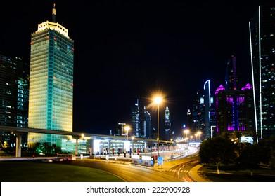 DUBAI, UAE - OCTOBER 07: The Dubai World Trade Center building.October 07, 2014 in Dubai, United Arab Emirates, Middle East