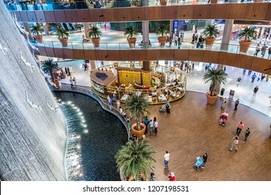 DUBAI, UAE - OCTOBER 1, 2013: Waterfall in Dubai Mall - world's largest shopping mall based on total area and sixth largest by gross leasable area, October 1, 2013  in Dubai, United Arab Emirates.