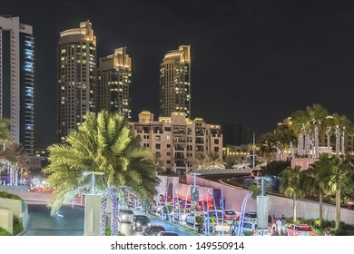 DUBAI, UAE - OCTOBER 1: Night view Down town of Dubai city on October 1, 2012, Dubai, United Arab Emirates. Dubai is the most expensive city in the Middle East.