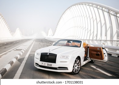 Dubai / UAE - October 10 2019: Rolls-Royce Dawn. Cabrio model. Luxury and Success. Dubai car rental. Exclusive car for your life. Leather seats, wooden parts inside. Expo2020 promo