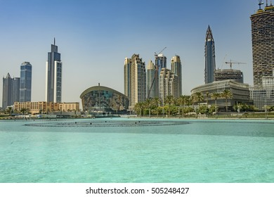 DUBAI, UAE - OCTOBER 11, 2016: The iconic dhow-shaped building of Dubai Opera is a masterpiece of contemporary design, and opened on 31st August 2016
