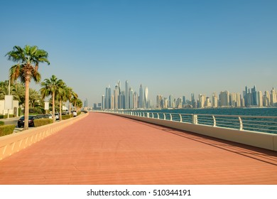 DUBAI, UAE - OCTOBER 11, 2016: The Boardwalk on the Palm Jumeirah Island on the Crescent.  The Palm Jumeirah is an artificial archipelago created using reclaimed land
