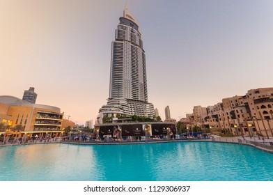 Dubai, UAE - October 14, 2013:  The Address Hotel at sunset.