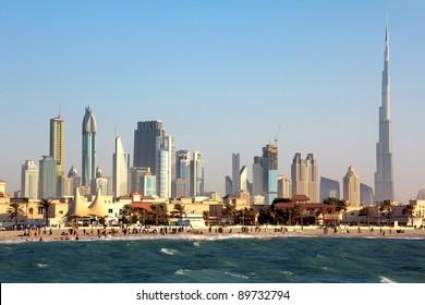DUBAI, UAE - OCTOBER 16: Dubai downtown and Burj Khalifa, October 16, 2011 in Dubai, UAE. Burj Khalifa is a tallest building in the world, at 828m.