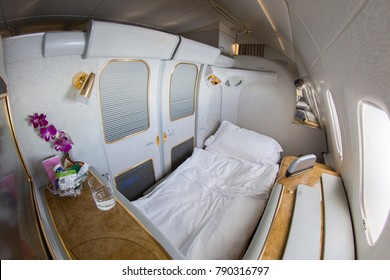 DUBAI, UAE - OCTOBER 20 , 2017: Emirates Airbus A380 interior - fully flat bed. Emirates is one of two flag carriers of the United Arab Emirates along with Etihad Airways and is based in Dubai.
