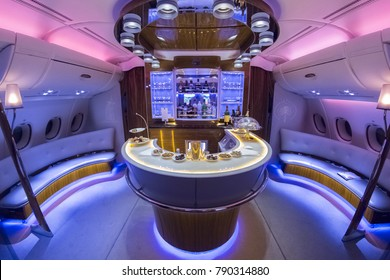 DUBAI, UAE - OCTOBER , 2017: Emirates Airbus A380 interior- BUSINESS CLASS BAR. Emirates is one of two flag carriers of the United Arab Emirates along with Etihad Airways and is based in Dubai.