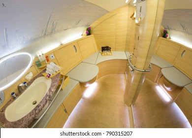 DUBAI, UAE - OCTOBER , 2017: Emirates Airbus A380 FIRST CLASS SHOWER interior. Emirates is one of two flag carriers of the United Arab Emirates along with Etihad Airways and is based in Dubai.