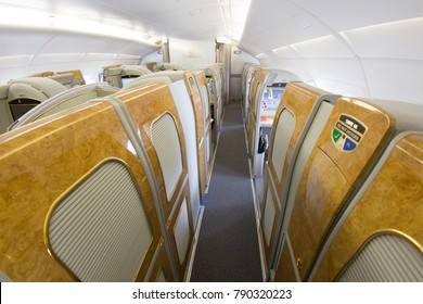 DUBAI, UAE - OCTOBER , 2017: Emirates Airbus A380 interior. Emirates is one of two flag carriers of the United Arab Emirates along with Etihad Airways and is based in Dubai.