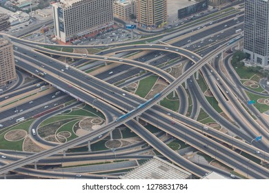 DUBAI, UAE - October, 2018: Amazing view of the junction roads from above. Traffic on the highway.