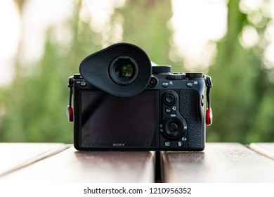 Dubai, UAE - October 2018 : A picture of Sony A7 iii Mirrorless Camera with Hoodman Eyecup