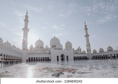 Dubai, UAE - October, 2018: Sheikh Zayed mosque in Abu Dhabi. The third biggest mosque in the world.